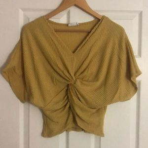 Sage brand yellow knitted crop